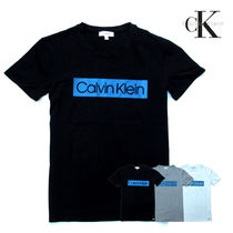 Calvin Klein Crew Neck Pullovers Plain Cotton Short Sleeves