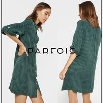 PARFOIS Stripes Casual Style A-line Cropped Dresses