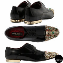 Dolce & Gabbana Straight Tip Leather With Jewels Oxfords