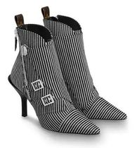 Louis Vuitton Stripes Pin Heels Elegant Style Ankle & Booties Boots