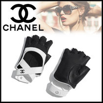 CHANEL Street Style Bi-color Plain Leather
