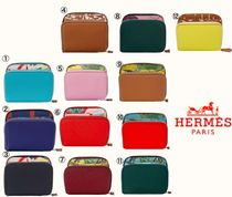HERMES Silk In Hermes Silkin Compact Calfskin Folding Wallets