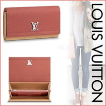 Louis Vuitton LOCKME Blended Fabrics Bi-color Plain Leather Long Wallets