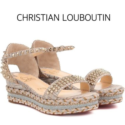 finest selection 71516 4c9d3 Christian Louboutin Madmonica 2019 SS Open Toe Platform Casual Style  Studded Plain Leather