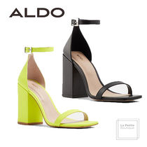 ALDO Square Toe Lace-up Plain Leather Elegant Style Chunky Heels
