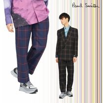 Paul Smith Tapered Pants Other Check Patterns Unisex Wool Street Style