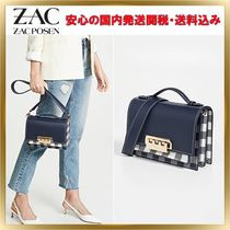 ZAC ZAC POSEN Gingham 2WAY Leather Elegant Style Shoulder Bags