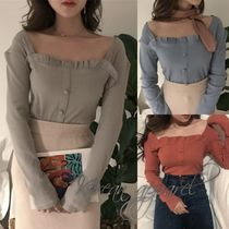 Lace-up Casual Style Long Sleeves Plain Long