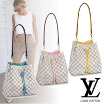 Louis Vuitton NEONOE Gingham Casual Style 3WAY Leather Shoulder Bags