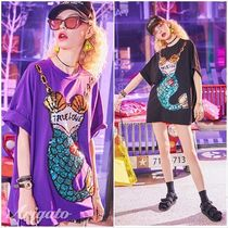 ELF SACK Crew Neck Street Style Medium Short Sleeves With Jewels