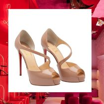 Christian Louboutin Open Toe Plain Elegant Style Peep Toe Pumps & Mules