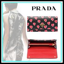PRADA Heart Blended Fabrics Leather Home Party Ideas Long Wallets