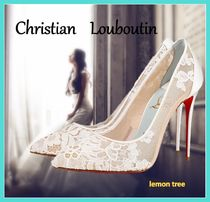 Christian Louboutin Flower Patterns Blended Fabrics Pin Heels Party Style
