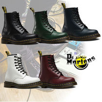 Dr Martens Round Toe Rubber Sole Casual Style Blended Fabrics