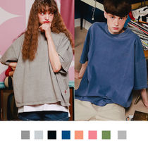 WV PROJECT Crew Neck Unisex Street Style Plain Cotton Short Sleeves