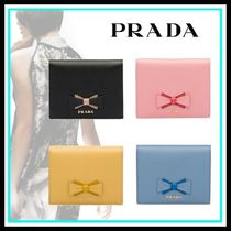 PRADA Blended Fabrics Leather Home Party Ideas Folding Wallets