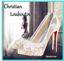 Christian Louboutin Flower Patterns Open Toe Pin Heels Party Style