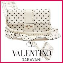 VALENTINO Dots Leather Elegant Style Shoulder Bags