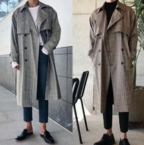 Glen Patterns Street Style Long Oversized Trench Coats