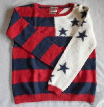 Tommy Hilfiger Crew Neck Stripes Star Casual Style Long Sleeves Cotton