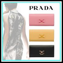 PRADA Blended Fabrics Leather Home Party Ideas Long Wallets
