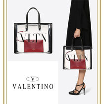 VALENTINO Unisex Street Style Crystal Clear Bags Totes