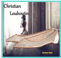 Christian Louboutin Flower Patterns Blended Fabrics Party Style With Jewels