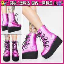 DOLLS KILL Platform Round Toe Casual Style Faux Fur High Heel Boots
