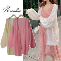 Casual Style Plain Medium Puff Sleeves Cardigans