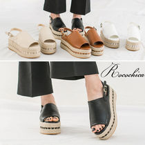Open Toe Platform Casual Style Blended Fabrics Plain