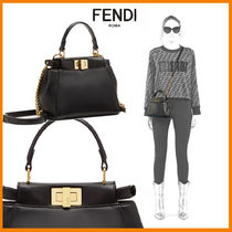 FENDI PEEKABOO Casual Style Lambskin 2WAY Chain Plain Shoulder Bags