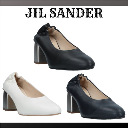 Jil Sander Plain Leather Block Heels Block Heel Pumps & Mules