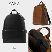 ZARA Faux Fur A4 Plain Backpacks