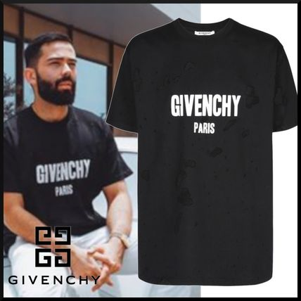 GIVENCHY Crew Neck Crew Neck Pullovers Unisex Street Style Plain Cotton