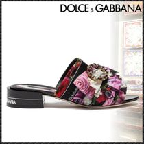Dolce & Gabbana Flower Patterns Open Toe Sheepskin With Jewels Elegant Style