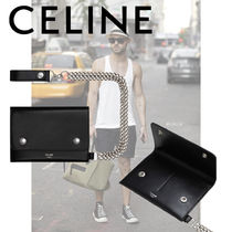 CELINE Calfskin Street Style Chain Plain Folding Wallets