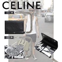 CELINE Calfskin Studded Street Style Chain Folding Wallets