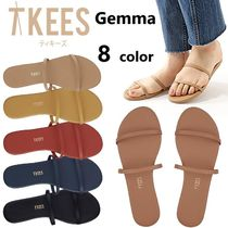 TKEES GEMMA Open Toe Plain Leather Flip Flops Sandals Sandal