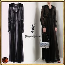 Saint Laurent Silk Long Sleeves Plain Long Dresses