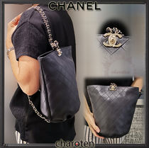 CHANEL ICON Lambskin 3WAY Chain Plain Elegant Style Backpacks