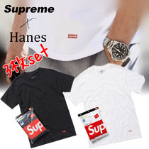 Supreme Street Style Collaboration Plain Cotton Short Sleeves