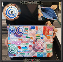 CHANEL ICON Unisex Calfskin Bag in Bag 2WAY Plain Elegant Style Clutches