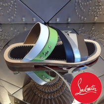 Christian Louboutin Studded Plain Shower Shoes Shower Sandals