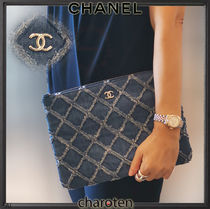 CHANEL ICON Unisex Canvas Bag in Bag 2WAY Plain Clutches