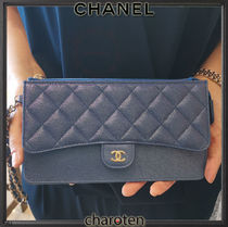 CHANEL ICON Unisex Calfskin Chain Plain Wallets & Small Goods