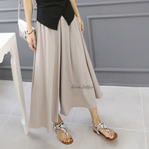 Casual Style Plain Long Culottes & Gaucho Pants