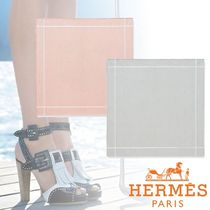 HERMES Unisex Plain Cotton Handkerchief