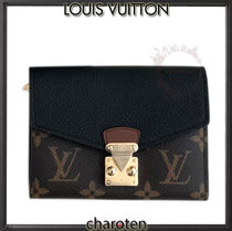 Louis Vuitton PALLAS Monogram Unisex Calfskin Bi-color Folding Wallets