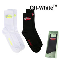 Off-White Unisex Street Style Bi-color Cotton Logo Undershirts & Socks