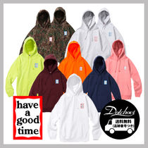 have a good time Unisex Street Style Long Sleeves Plain Cotton Oversized